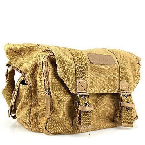 BESTEK-Waterproof-Canvas-DSLR-Camera-Shoulder-Bag-with-Shockproof-Insert-Khaki