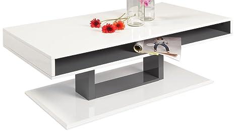 HL Design 01-01-156.1 Couchtisch Mattia Ablage und Gestell grau lackiert, Materialstärke 16 mm, 110 x 60 x 40 cm, hochglanz weiß lackiert