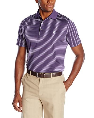 IZOD Men's Short Sleeve Poly Feeder Stripe Jersey Golf Polo