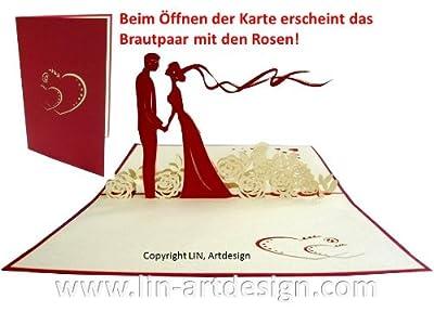 Hochzeitskarte mit Brautpaar POP UP-Karte zum Aufklappen mit Brautpaar