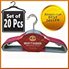 20 Pcs Extra Strong, Ultra Thin and Non-Slip Clothes Hanger for Baby, Kids or Adults - Mighty Hanger™ Space Saver and Fully Protect Against Unwanted Dent - Luxuriously Flocked - Best All in One Flocked Hanger for Your Finest Clothes, Ties, Scarves, Towels, Belts, Skirts - Rose Red Color