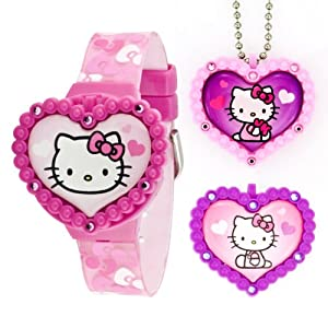 Hello Kitty Kids' HK1523 Digital Interchangeable Necklace and Toppers Watch