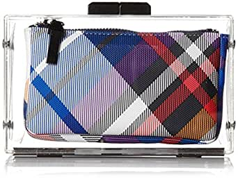 French Connection Sportivo Crystal Clear Clutch,Plaid Multi,One Size