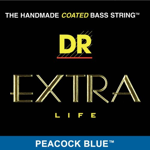 DR HANDMADE COATED BASS STRINGS - Extra Life - Peacock Blue .045-.125 Medium 5String