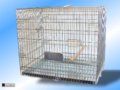 SILVER BIRD CARRIER CAGE TRANSPORTER L63cm x H53cm x W46cm