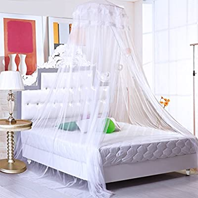 Romantic Princess Universal Ceiling Dome Mosquito Net Ultra Dense Double Lace Mosquito Netting Canopy 10.5 Meter Full Coverage Protection Fit Single/Double/King Size Bed for Holiday Travelling/Home