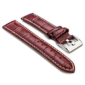 StrapsCo Premium Burgundy Croc Embossed Leather Watch Strap size 28mm