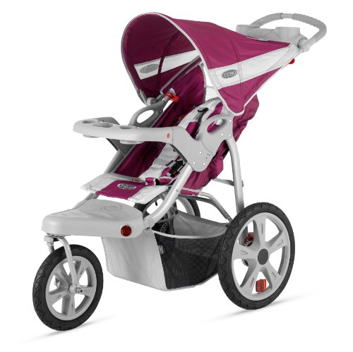 InStep Safari Single Swivel Stroller, Wine/Gray - 1