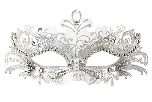 Coxeer Pretty Elegant Lady Masquerade Halloween Mardi Gras Party Mask (White & Silver)