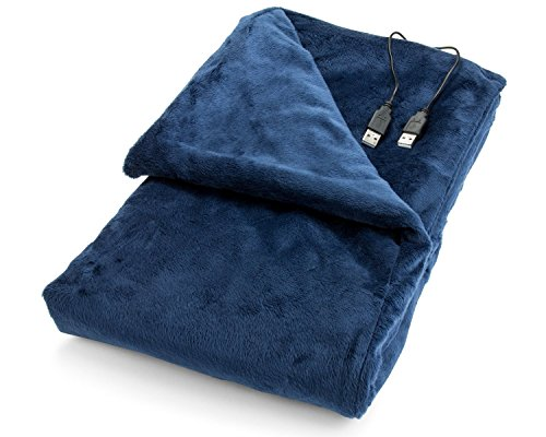Review Of USB Heated Shawl and Lap Blanket - Blue Color - USB Heated Throw Perfect Alternative to an...