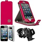 Magenta Pink VG Patent Faux Leather Vertical Stand Flip Case for Apple iPhone 5 (16GB 32GB 64GB) + Mirror Screen Protector Strip w/ Cleaning Cloth + Universal Windshield Mount Holder with Suction Cup Holder