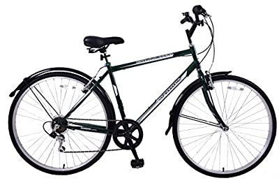 "Professional Commuter 19"" Frame Mens Hybrid Bike 6 Speed 700c Wheel With Mudguards British Racing Green"