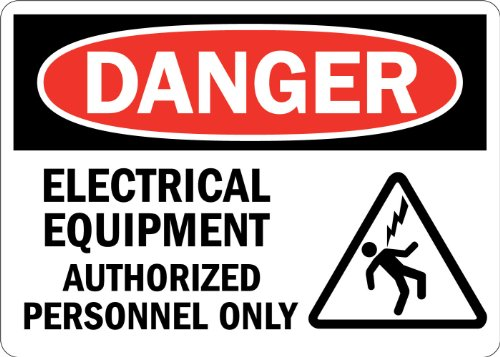"Smartsign Adhesive Vinyl Label, Legend ""Danger: Electrical Equipment Authorized Only"" With Graphic, 3.5"" High X 5"" Wide, Black/Red On White"