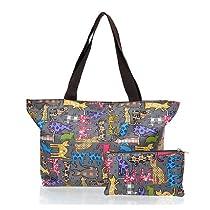 ililily Pattern Light weight Medium Shopper Bag Shoulder Strap Bag in Pouch (bag-007-11)