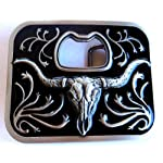 Long Horn Bull Bottle Opener Belt Buckle