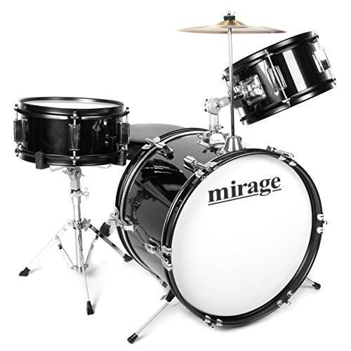 mirage-jdk-3-piece-junior-drum-kit-with-stool-and-sticks-black