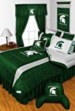 Michigan State Spartans FULL Size 14 Pc Bedding Set (Comforter, Sheet Set, 2 Pillow Cases, 2 Shams, Bedskirt, Valance/Drape Set - 84 inch Length & Matching Wall Hanging) - SAVE BIG ON BUNDLING! at Amazon.com