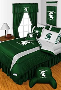 Michigan State Spartans 6 Pc TWIN Comforter Set & Set of Two 5 Pc Valance Drape... by Sports Coverage