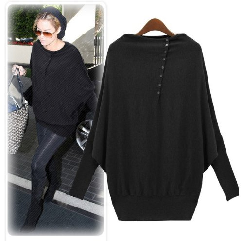Amazon.com : Women's Batwing Sleeve Long-sleeve Loose Sweater Europe Fashionable Ladies' Cardigan Pullover