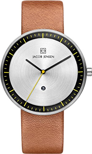 Jacob Jensen Strata Men's Quartz Watch with Silver Dial Analogue Display and Brown Leather Strap 271
