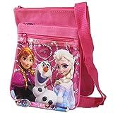 Disney Frozen Hot Pink 2 Layers Anna Elsa and Olaf Medium Shoulder Bag with Beautiful Pen