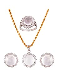 Mariya Impex Classic Collection Silver Pendant Necklace Set For Women - B00YHWOM06