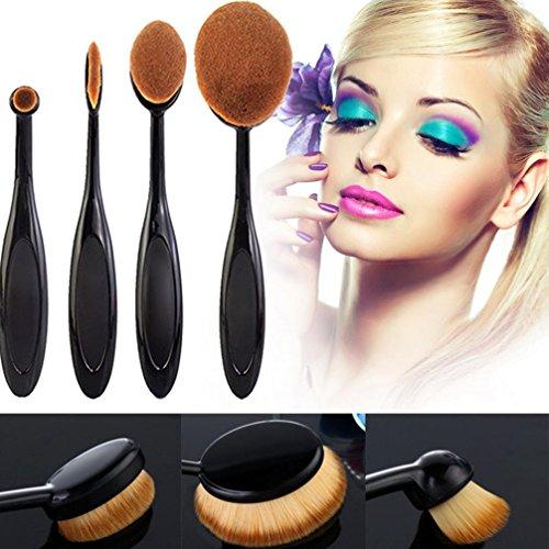 Pennelli per viso Make Up Ovali Pro trucco cosmetico 4pcs / set spazzolino da denti trucco forma delle sopracciglia Foundation Kit polvere brush