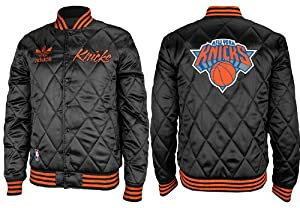 New York Knicks Adidas Originals NBA Throwback Quilted Satin Button Jacket by adidas