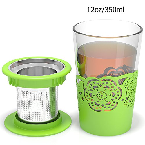 Tea Infuser Glass for Loose Leaf and Flower Tea, Double Wall Mug, 12oz/350ml Single Personal Cup (Green) (Double Walled Electric Kettle compare prices)