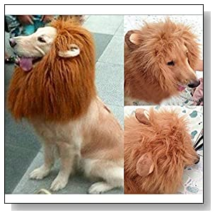 Wotefusi ? Halloween Pet Dog Cat Lion Wigs Mane Hair Festival Party Fancy Clothes Costume with Ears