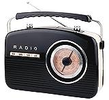 Tragbarer Retro-Radio beige mit Kopfhörer und Handy-Anschluss, Batterie oder Steckdose, Radio Retro, Retroradio, FM/AM, mini Küchenradio