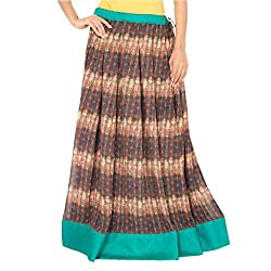 Admyrin Women's Brown and Green Georgette Skirt