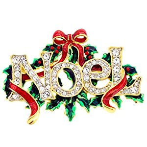 Christmas Noel Christmas Bow Wreath Pin Swarovski Crystal Christmas Pin Brooch And Pendant(Chain Not Included)