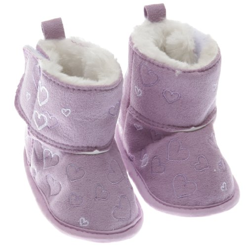 Baby Girls Heart Design Fluffy Lined Booties/Shoes With Velcro Strap