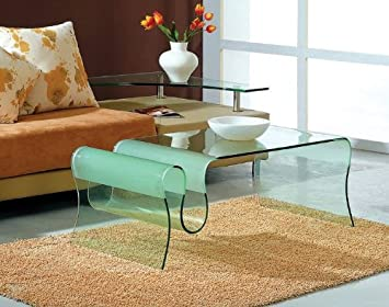 Glass Coffee Table with Rack