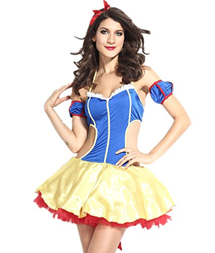 Columbustore Women's Snow White Costume Halloween Role Play Princess Party Dress