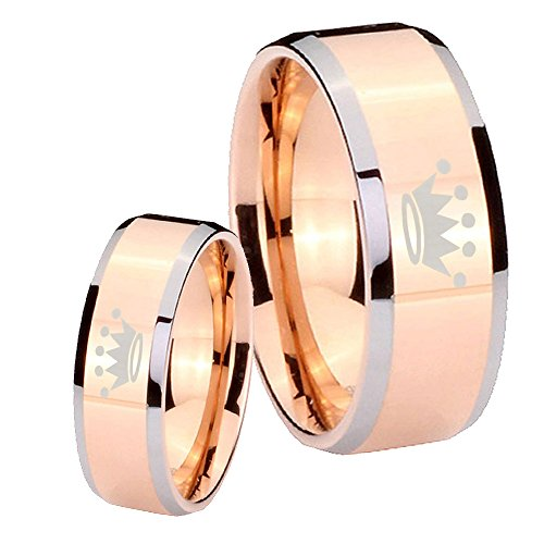 He She Tungsten Crown Rose Gold Ip Silver Edges Ring Set Size 4, 13