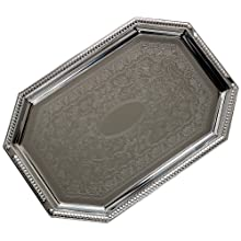"Carlisle 608901 Carbon Steel Celebration Octagonal Tray w/Beaded Border, 17.13"" x 11.75"" (Case of 12)"