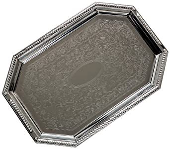 "Carlisle 608901 Celebration Octagonal Tray With Beaded Border, 17.13"" Length x 11.75"" Width (Pack of 12)"