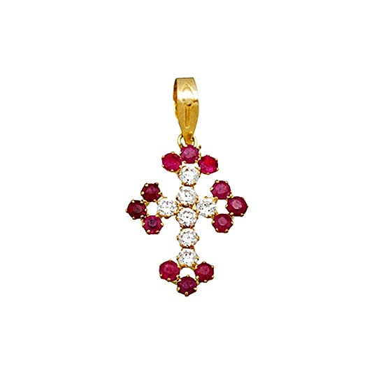 18k gold cross ends zircons ruby ??clover [AA4973]