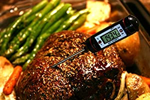 INSTANT READ THERMOMETER by Lucia's Cookware. Best Digital Thermometer for all food items - in the Kitchen Oven&Outdoors on the BBQ Grill. Rated #1 Meat Thermometer.