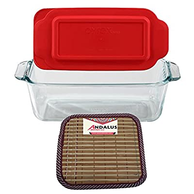 Pyrex Basics 1.5 Quart Clear Glass Loaf Dish with Red Plastic Lid, Bread and Meatloaf Pan - Includes Bamboo Hot Pad by Andalus