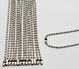 Amanaote Silvery 2.4 mm Diameter Ball Chain 250 mm Length Metal Bead Chain for Pendant Pack of 20