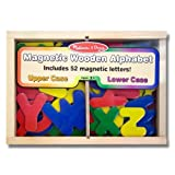 Alphabet Wooden 52 Magnets-in-a-Box Gift Set + FREE Melissa & Doug Scratch Art Mini-Pad Bundle [0448