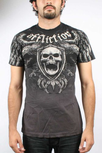 Affliction - Mens Classical T-Shirt In Blk/Char Dip Dye, Size: Small, Color: Blk/Char Dip Dye