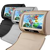 (HD908T)XTRONS 9インチ 高画質 電圧保護 タッチパネル ヘッドレスト DVDプレーヤー モニター USB SD FM電波トランスミッター IR赤外線トランスミッター 2個1セット (ブラック)