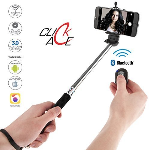XTRA Selfie Stick ACE with Bluetooth Remote for Smart Clicks Apple & Android Devices