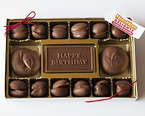 Gourmet Chocolate Gift Box | Happy Birthday | Milk Chocolate Covered Pecans and Caramel Clusters| 14 Oz