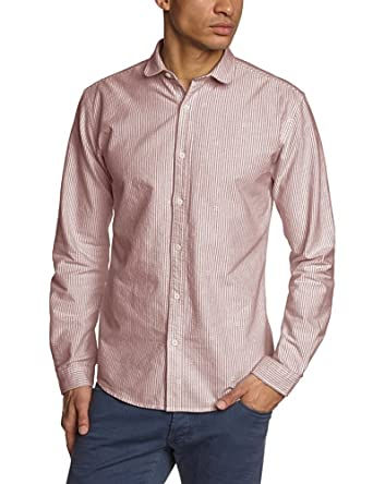 SELECTED HOMME Herren Freizeithemd Slim Fit, gestreift 16035294 Reflect shirt ls, Gr. 52 (L), Mehrfarbig (Chili Pepper)