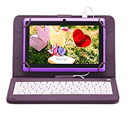 iRULU eXpro X1 7 Inch Quad Core Google Android Tablet PC, 1024*600 Resolution, Wi-Fi, Games, Dual Cameras, 8GB Nand Flash (Purple Tablet)